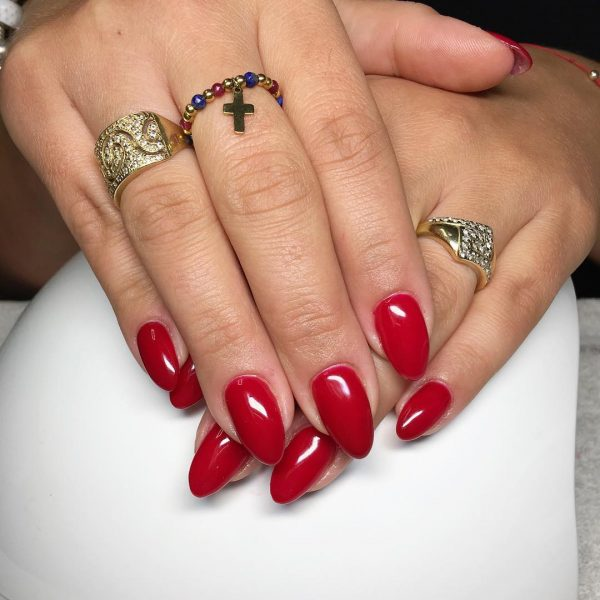 Stunning Clic Red Almond Acrylic Nails