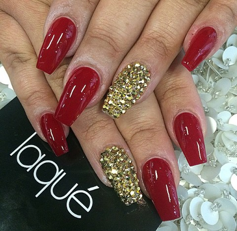 Red Nails With Gold Rhinestones