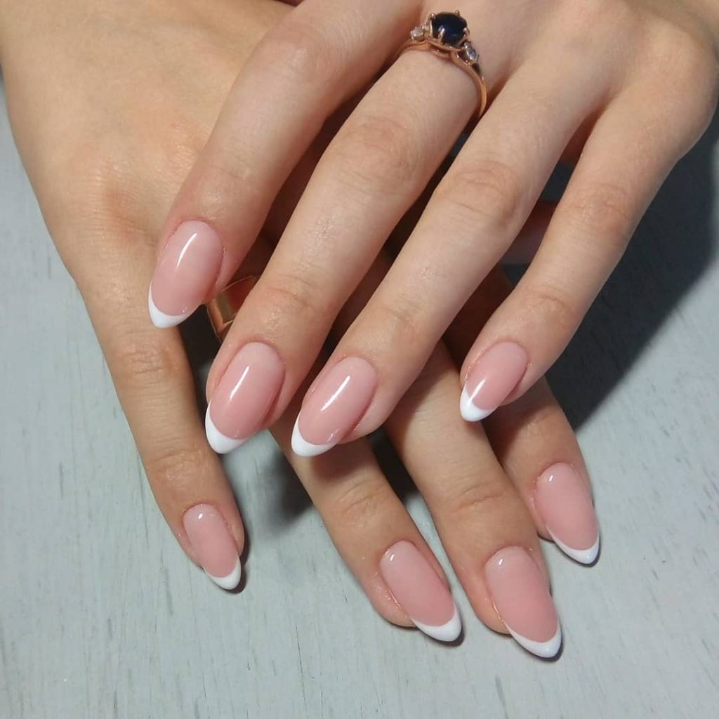 Stunning Almond Nails In Traditional French Manicure Style