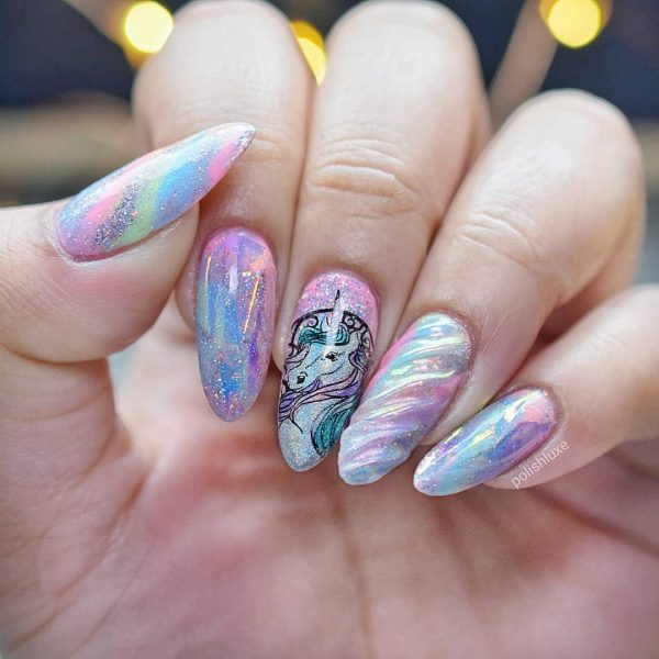 Credit: Awesome Chrome Unicorn Nails Magical Unicorn Nails - The Best Unicorn Nail Art Design Ideas & Tutorials