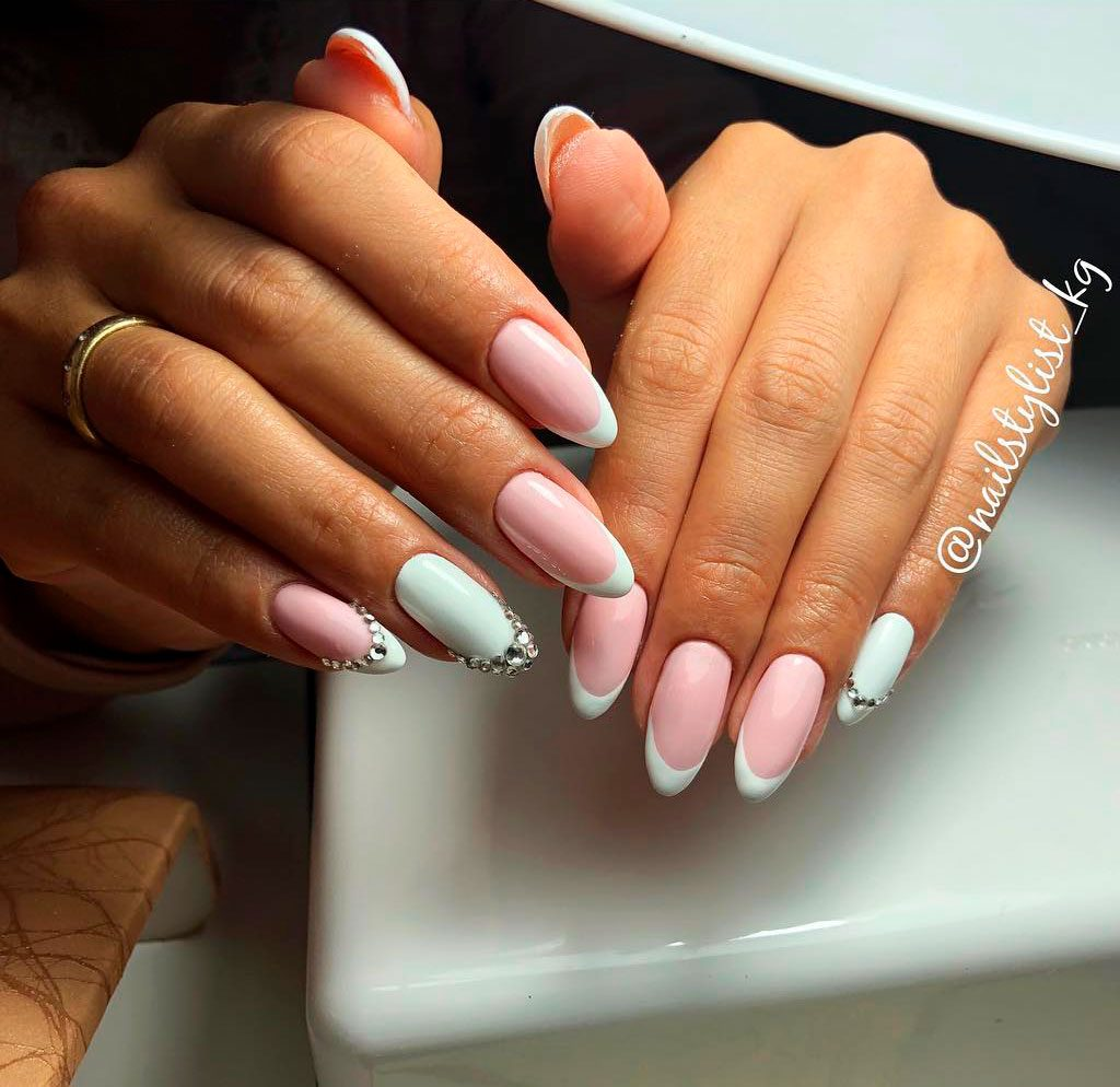 2019 year for girls- Almond tip french nails