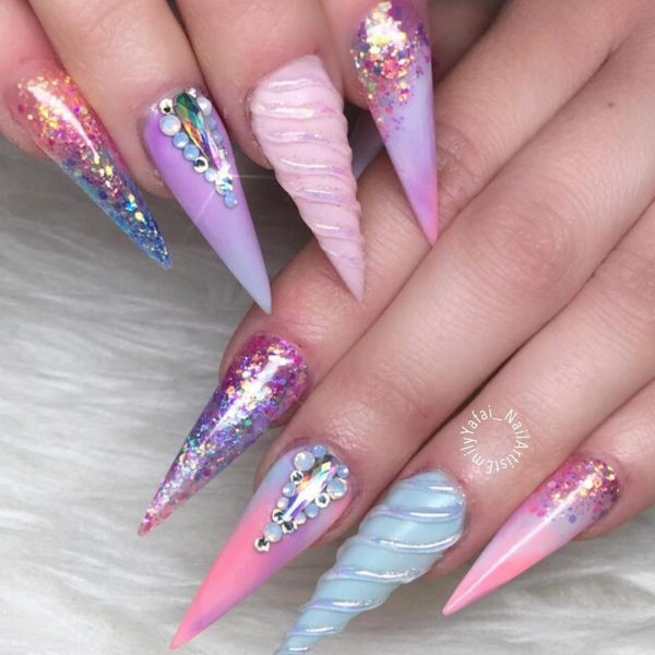 Credit: Spring Unicorn Nails Stunning Unicorn Nail Art Design - The Best Unicorn Nail Art Design Ideas & Tutorials