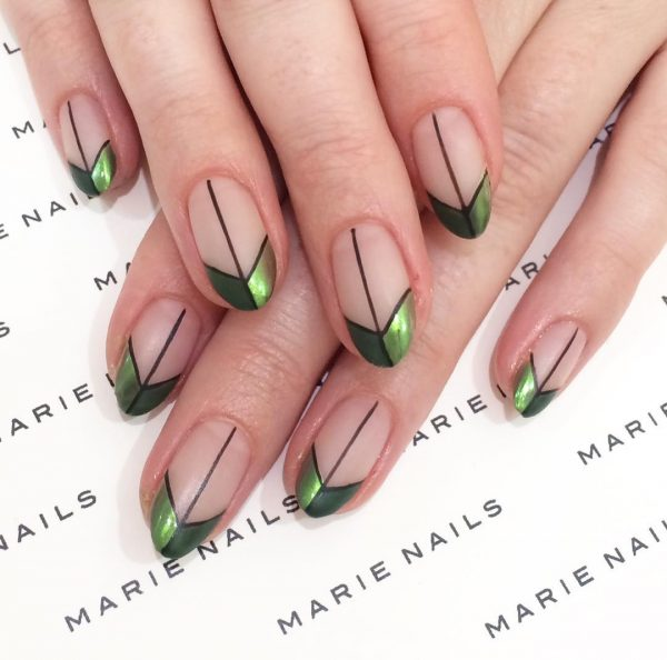Amazing French Manicure Nail Art With Green Chrome Tips