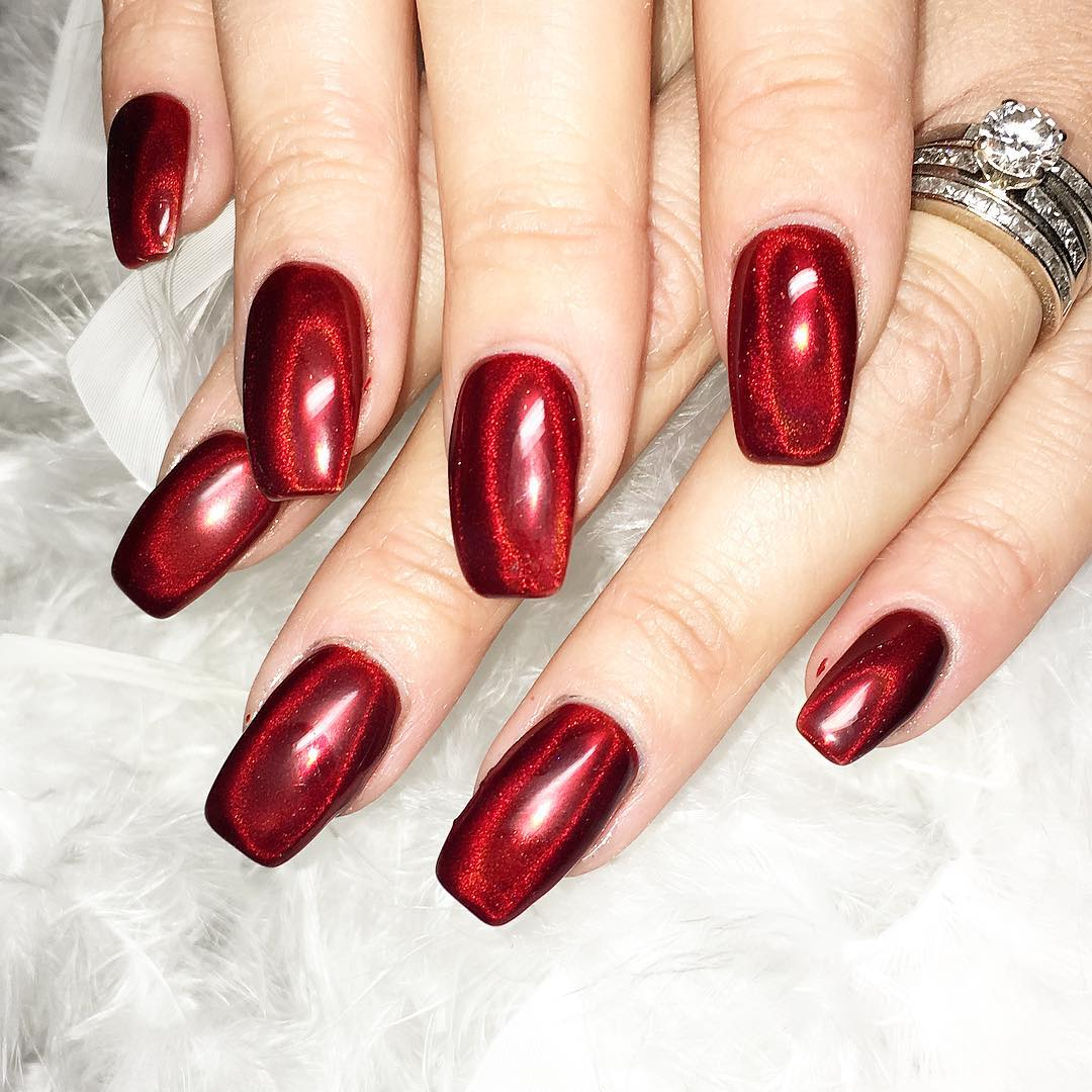 Elegant Red Chrome Nails