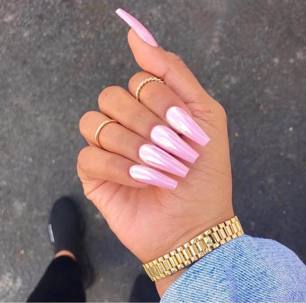 Gorgeous glossy baby pink coffin nails!