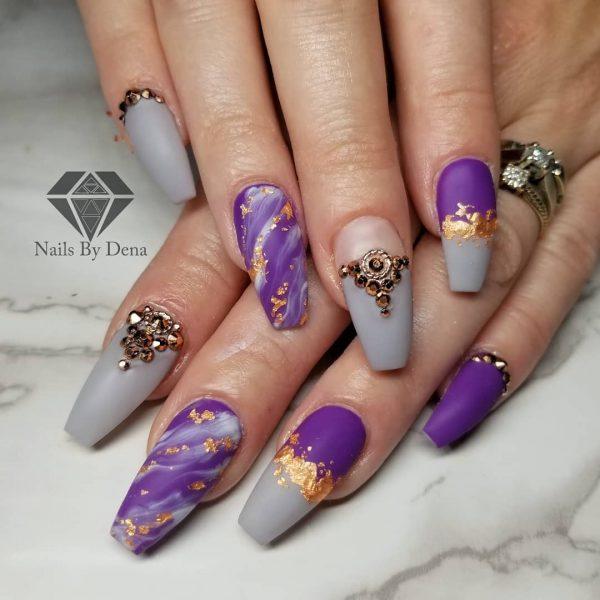 Amazing purple & Grey coffin nails art design with gold glitter & diamonds!