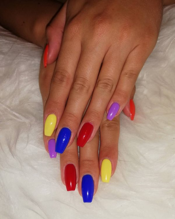 Amazing colorful coffin nails worth trying!