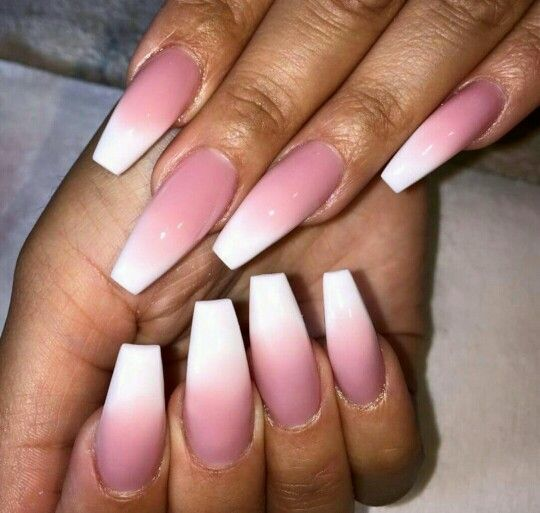 Acrylic pink and white ombre coffin nails