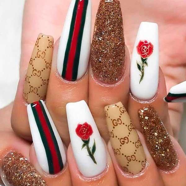 Amazing Gucci coffin nails