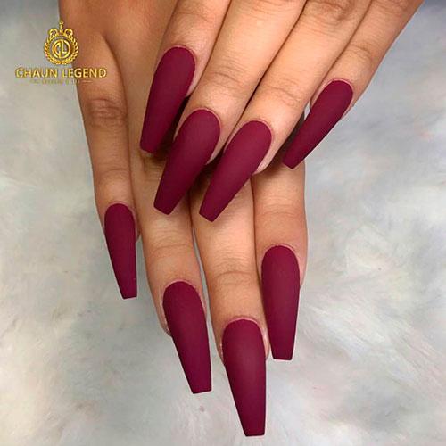 Amazing matte burgundy long coffin nails