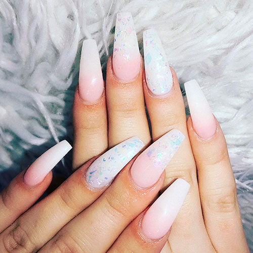 Amazing pink and white coffin nails with glitter!