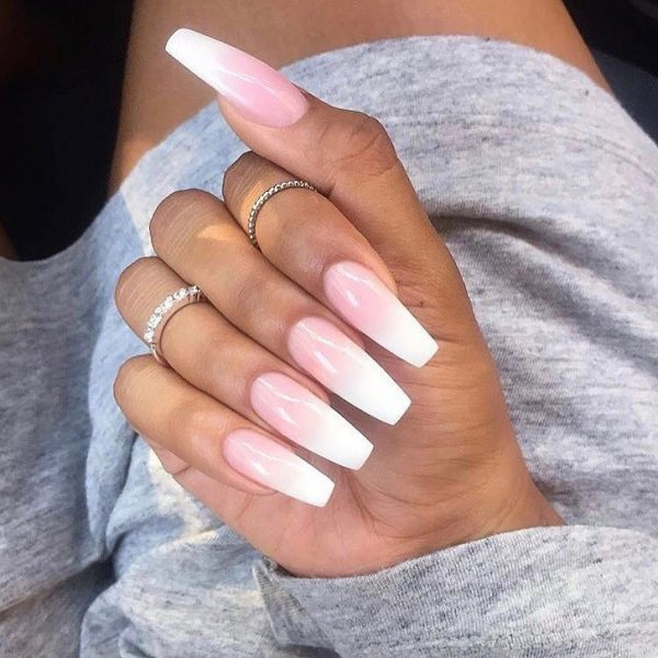 Amazing pink and white ombre coffin nails