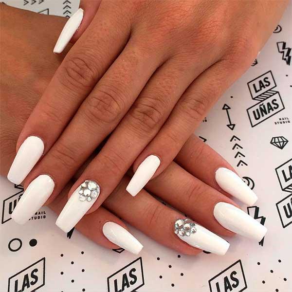 Amazing white coffin nails with rhinestones