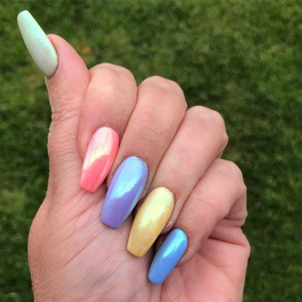 Beautiful Rainbow Coffin Nails!