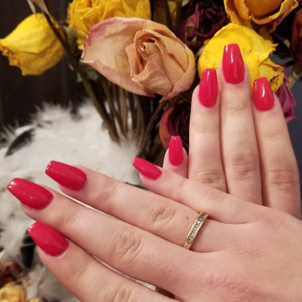 Beautiful red acrylic coffin nails