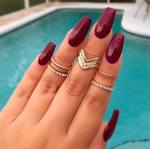 Beautiful shiny burgundy acrylic nails coffin!