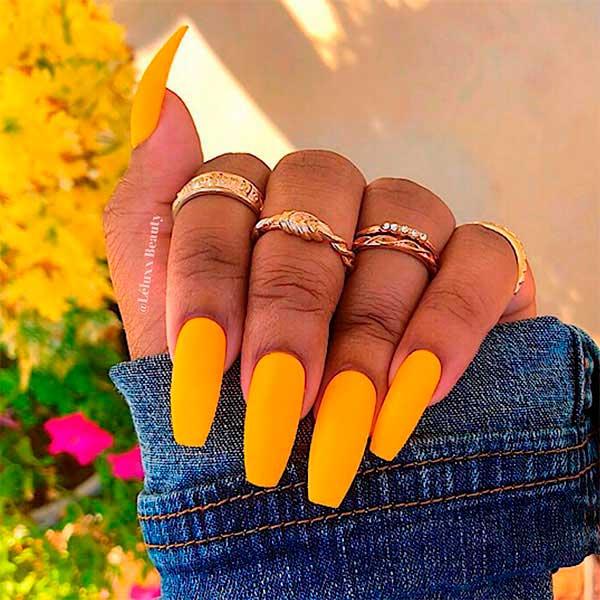 Cute Yellow Matte Coffin Nails!