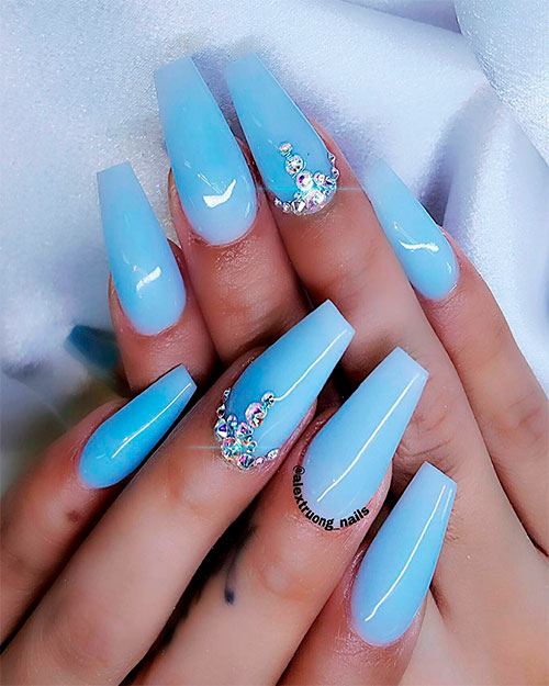 Cute baby blue coffin nails with diamonds