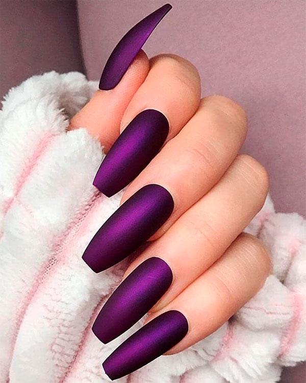Cute matte dark Purple Coffin nails