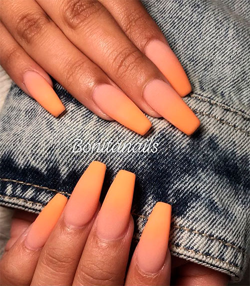 Long Coffin Acrylic Nails Ombre