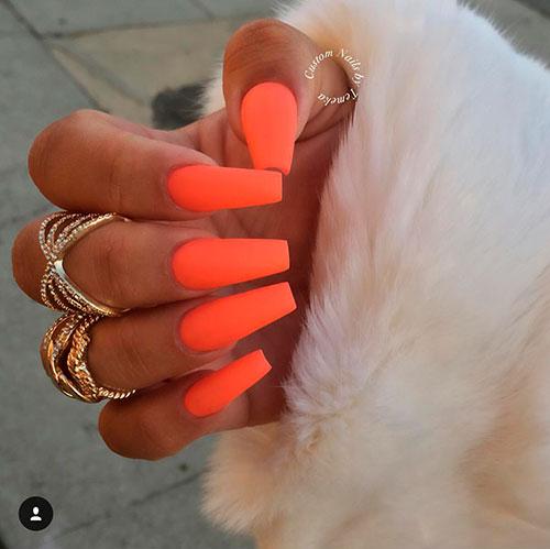 Cute matte orange coffin nails!