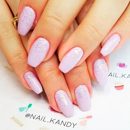 Cute purple coffin shaped acrylic nails