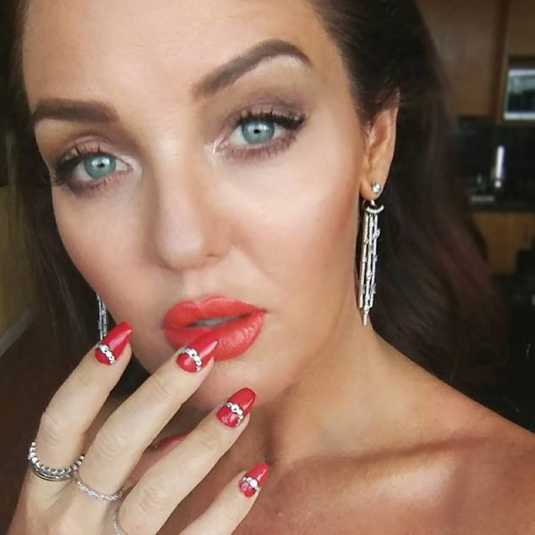Elegant red acrylic coffin nails