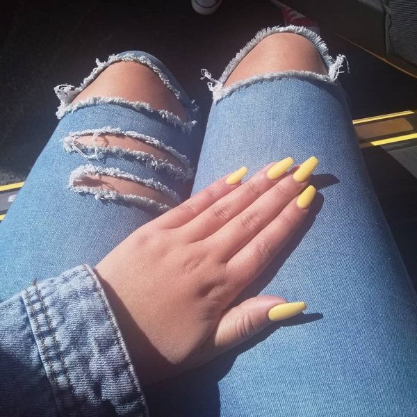 Nice Yellow Matte Coffin Nails Elegant