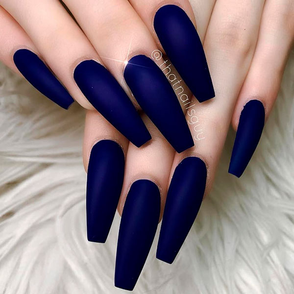 Fabulous matte dark blue long coffin shaped nails