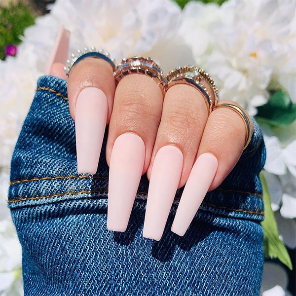 8.7 - Fancy matte coffin shaped baby pink nails