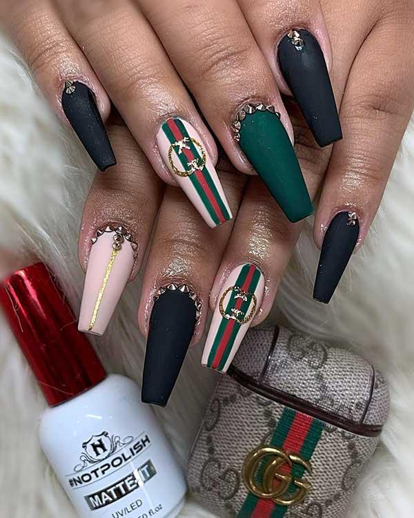Gorgeous coffin shaped Gucci nails set!