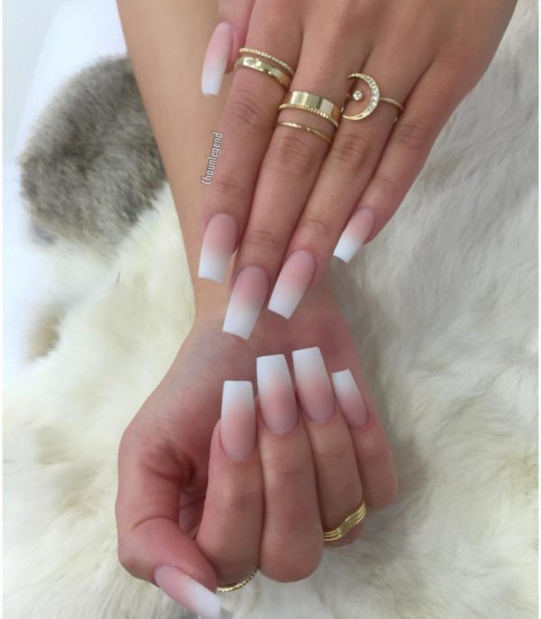 Pink And White Ombre Nails Short Coffin