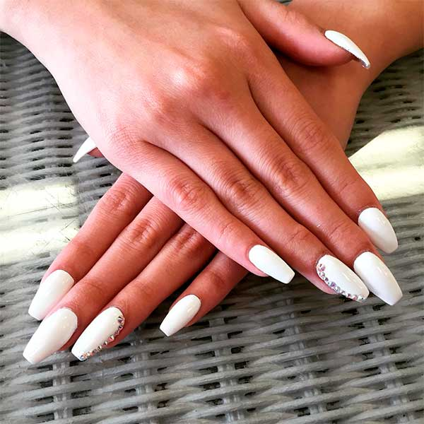 Nice white coffin nails with rhinestones