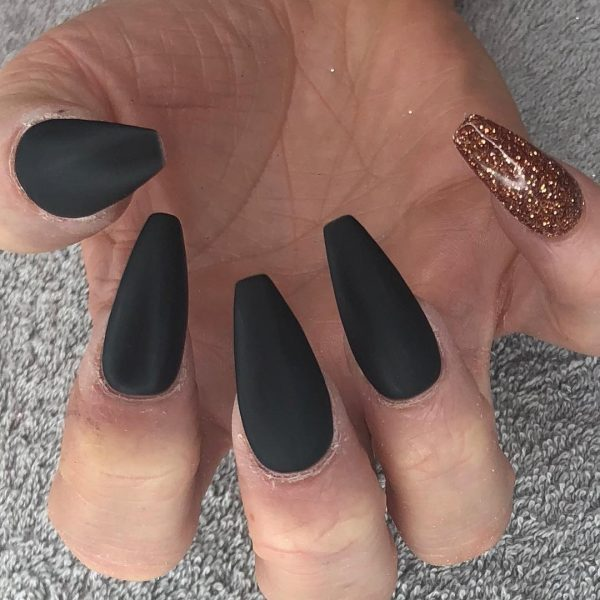 So Beautiful Matte Black Coffin Nails With Gold Glitter Accent Nail
