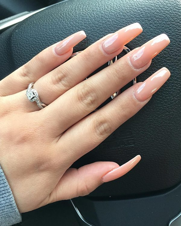 Stylish nude coffin nails