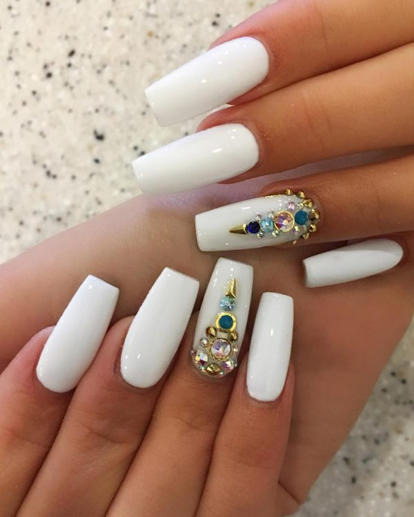 White coffin nails with rhinestones & gems
