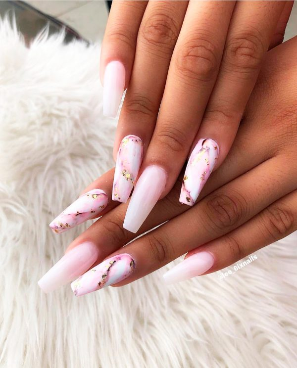 pink marble coffin nails with little glitter with pink and white ombre acrylic nails coffin