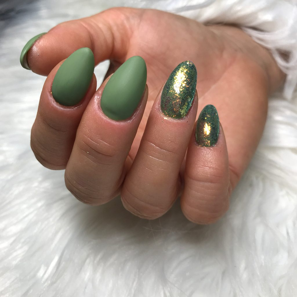 Amazing Matte Olive Green Nails With Two Glitter