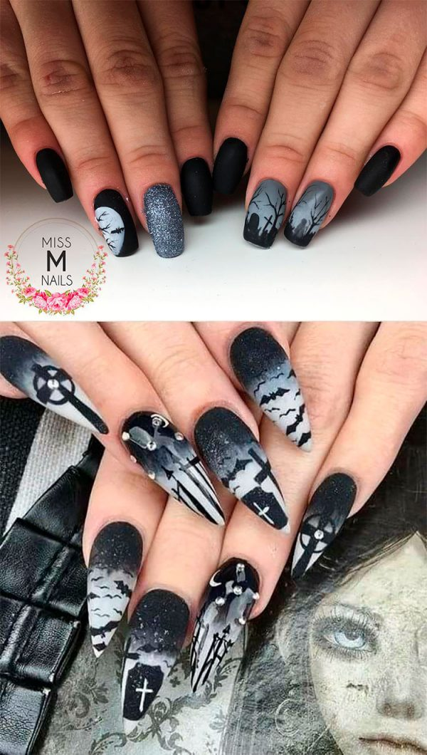 Amazing Black Grave Stone Halloween Press On Nails!