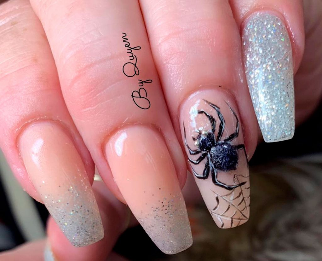 Amazing Glitter & Spiderweb Halloween Press On Nails