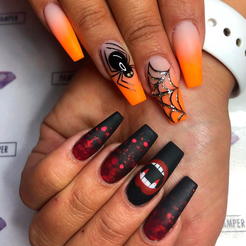 Amazing Halloween Ombre Orange Spiderweb & Bloody Black Nails