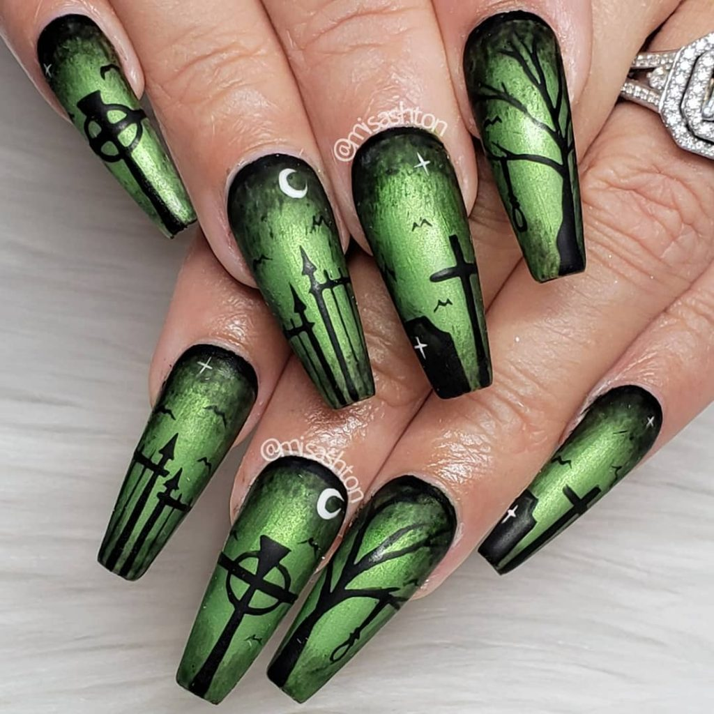 Amazing Long Coffin Shaped Halloween Nail