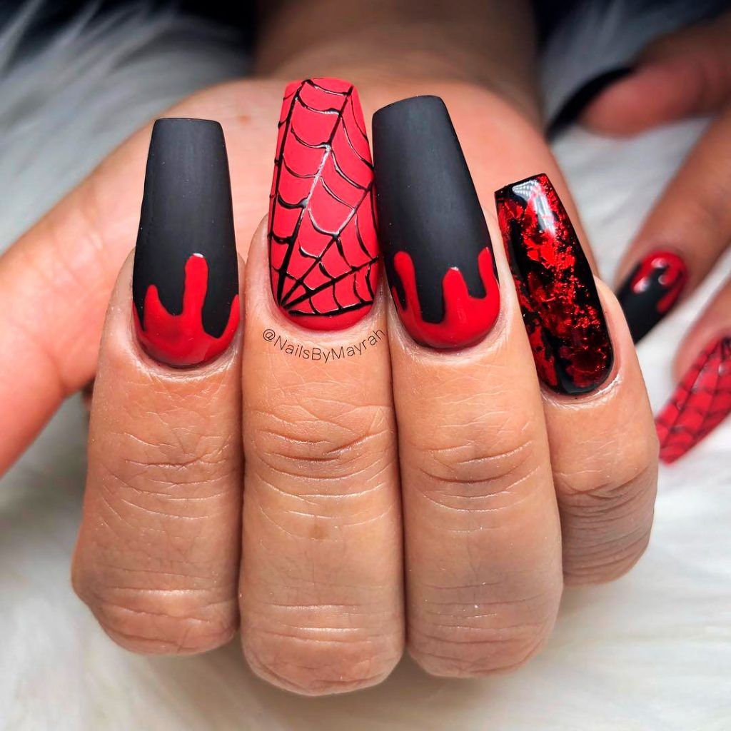 Amazing Black, Bloody & Spiderweb Halloween Nails!
