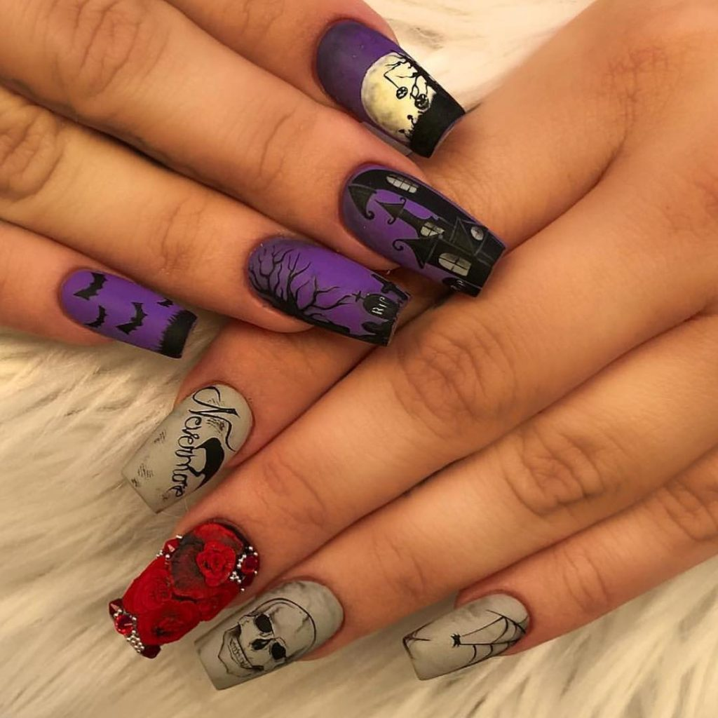 Nice Coffin Shaped Halloween Nail Idea