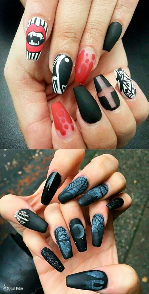 Spooky Vampire & Black Halloween Nails!