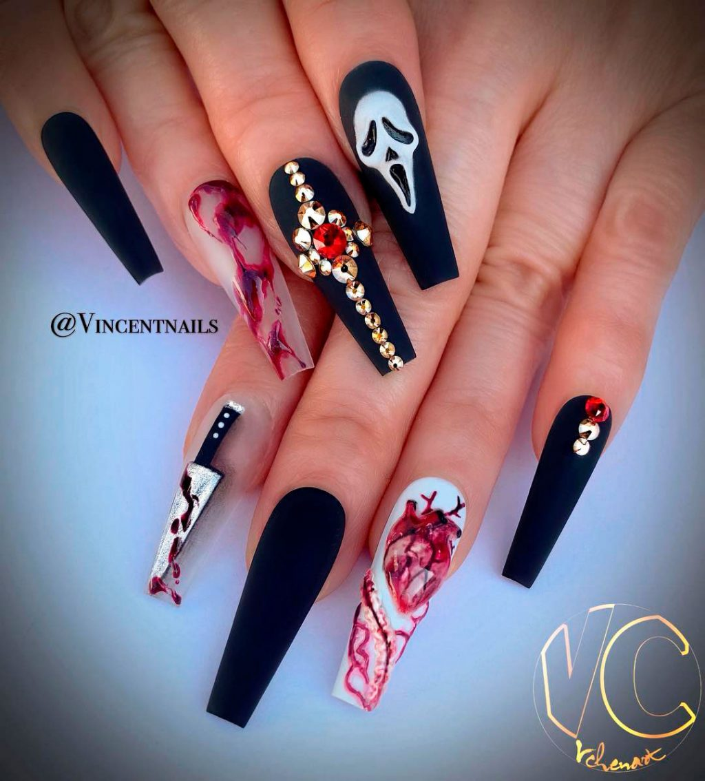 Stunning Black, Bloody & Knife Halloween Long Shaped Coffin Nails