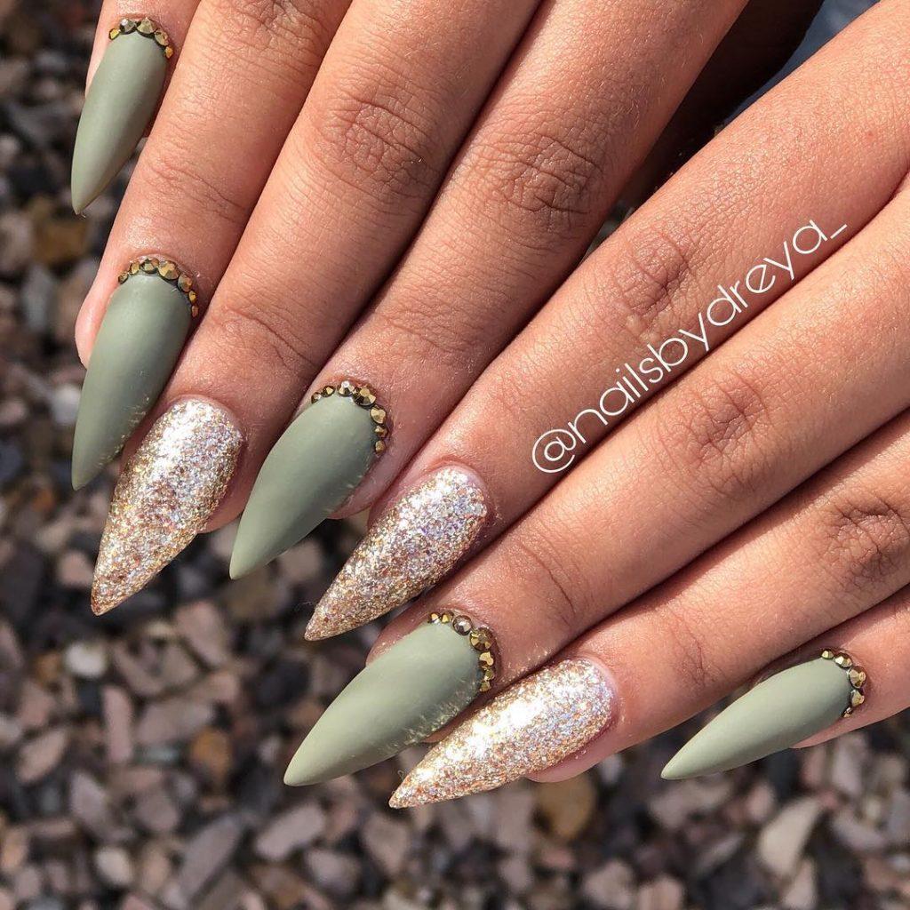 Gorgeous Light Matte Olive Green Stiletto Fall Nails Design With Diamonds Gold Glitter