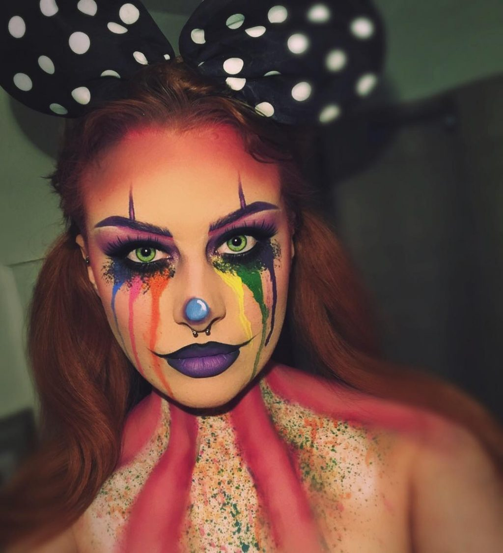 Spooky Clown Halloween Makeup Look with crying rainbow tears!