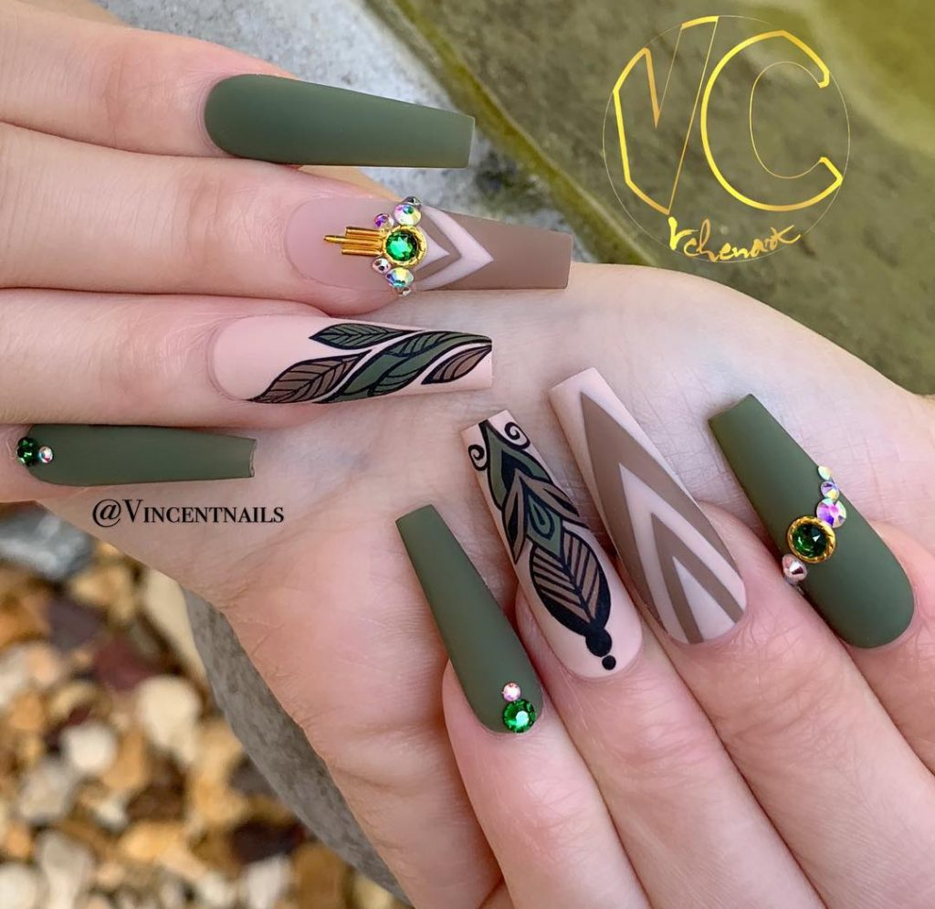 Stunning Matte Coffin Shaped Olive Green Fall Nails Design