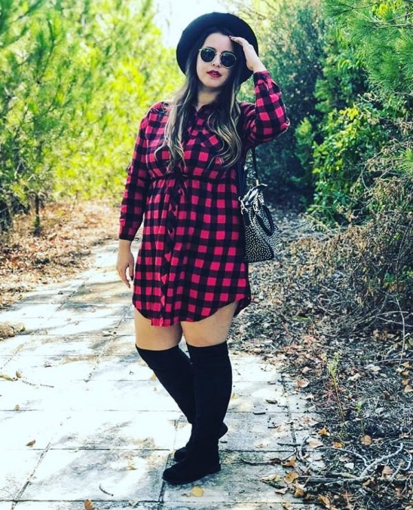 4ac832c255f Amazing Plaid Shirt Dress with Pretty in Thigh High Boots for - plus size  women s clothing